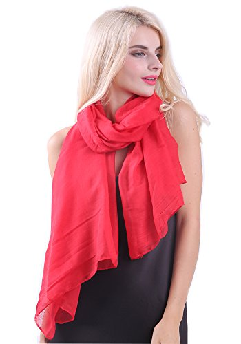 MissShorthair Womens Long Scarf in Solid Color Large Sheer Shawl Wraps for Evening(Red)