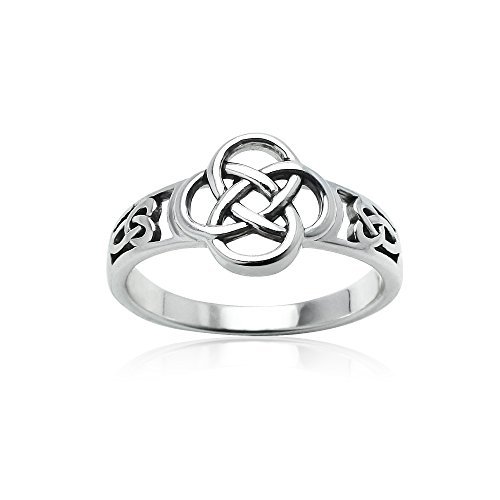 Hoops & Loops Sterling Silver Oxidized Love Knot Flower Ring, Size - Flower Oxidized Ring Design