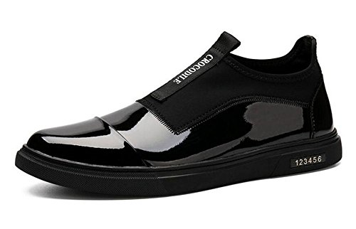 Männer Lace-Up Flats Skateboard Schuhe Leder Boutique Casual Schuhe Trend Sets von Fuß Schuhe , black , 44