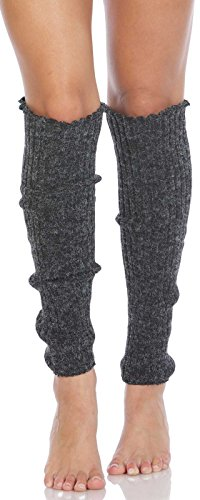 Foot Traffic Cable Knit Legwarmers (Long, Charcoal) from Foot Traffic