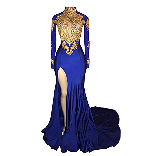 BridalAffair Women's Mermaid High Neck Prom Dress 2019 New Gold Appliques Long Sleeves Split Evening Gowns