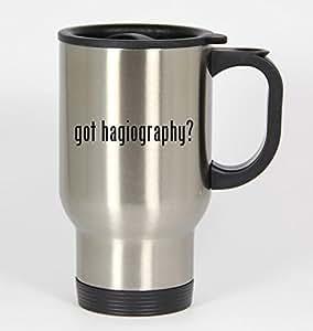 got hagiography? - 14oz Silver Travel Mug