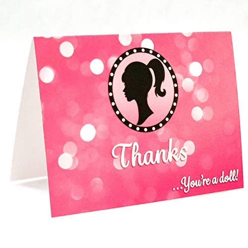 Thank You Cards Girl Doll - Cute Note for Your Wedding Bridal Shower Baby Shower Birthday Party - Express Your Thanks and Gratitude in a Small Funny Way