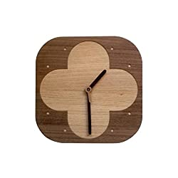 Handmade Modern Wall Clock From Natural Wood Veneer , Flower Layer Engraved for Gift and Home Decoration, Model No. 70030
