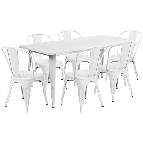 Modern Table Dining Rectangular (Flash Furniture 31.5'' x 63'' Rectangular White Metal Indoor-Outdoor Table Set with 6 Stack Chairs)