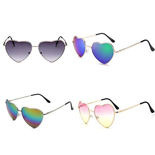 Meyison Heart Shaped Sunglasses Thin Metal Frame Cute Aviator Style Eyewear (4Pack /2Gold frame+ 2Sliver ()