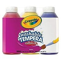 Crayola; Pintura Tempera Lavable Arista II; Colores primarios (rojo, amarillo, azul), herramientas de arte; Botellas de 3 u 8 ct; Ideal para proyectos de aula