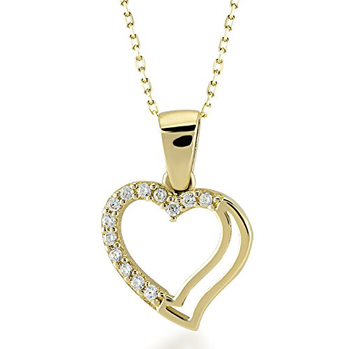 Gelin 14k Real Gold Double Heart Pendant Necklace with Cubic Zirconia for Women, 18 inc ()