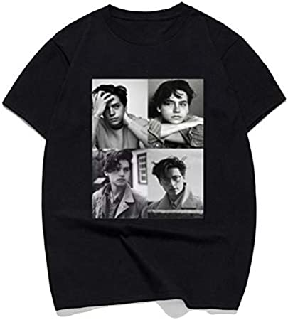 Cole Sprouse T Shirt Cole Sprouse Collage B W Man'S T-Shirt Male Cotton Classic tee Shirt Fashion Short-Sleeve Tshirt Men/Women
