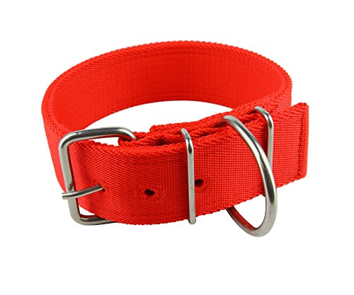 MEIKAI 2 Inch Adjustable Heavy Duty Tough Nylon Classic Dog Collar with Stainless Steel Metal Buckle for Large Dog(Red) (2