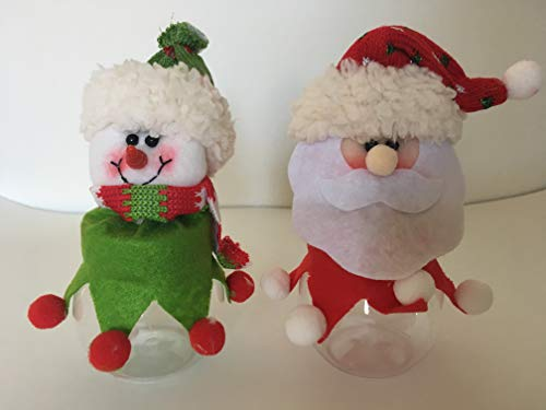 Christmas Holiday Party Candy Bottle Jar set (Santa and (Christmas Holiday Candy)