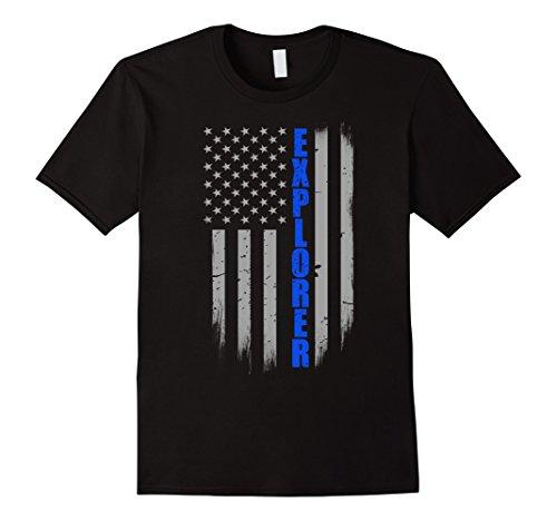 Explorer Post - Mens Police Explorer Thin Blue Line Flag T-Shirt XL Black