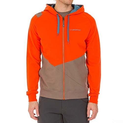 (La Sportiva Rocklands Full-Zip Hoodie - Men's Tangerine/Falcon Brown, S)
