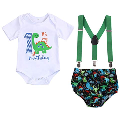 Baby Boys Cake Smash Clothes Dinosaur Bodysuit Diaper Suspenders Pants 3PCS Set First Birthday Outfit for Photo Prop Party (Dinosaur 1, 1 Years)