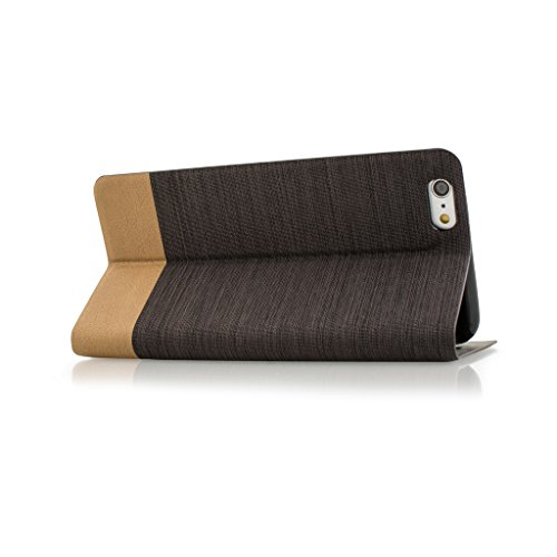 iphone 6s Case cover, iPhone 6s Dark Brown Twin Colour Fabric Style Wallet Case Cover