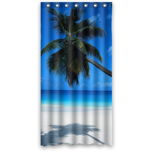 """Fashionable Bathroom Collection-Custom Waterproof Beach and Coconut Palm Tree Curtain (36"""" x 72"""") With 7 holes-176"""