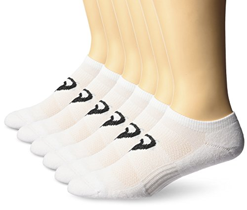 ASICS Invasion No Show Running Socks (6 Pack), White, X-Large -  889436565938