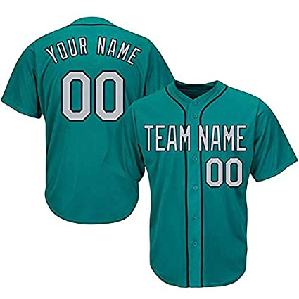 e1c98d407 QimeiJer Custom Mens Baseball Jersey Button Down T Shirts- Personalized  Your Own Name Number and