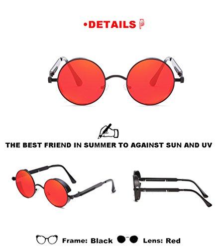 Negro sol metal de de Amantes Gafas de hombres redondas de Lente las deportivas de sol de libre Mujeres gafas aire de Marcos moda al verano para viaje unisex Rojo WHn4wH0qB
