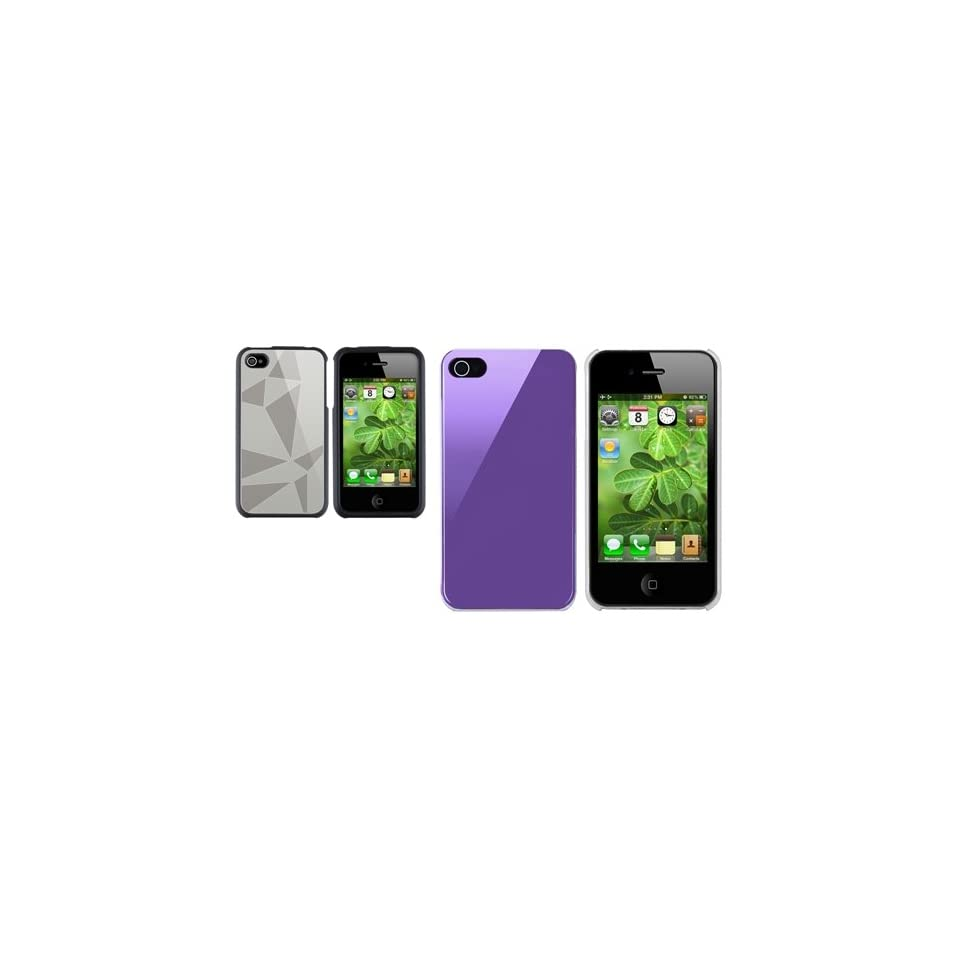 Theo&Cleo Shiny Purple + Silver Triangle Aluminum Hard Clip on Case Cover For iPhone 4 G 4S