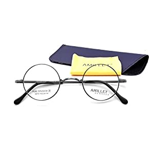 Amillet 42mm Retro Round Titanium Prescription Eyeglass Frames,for Men and Women,Rx-able,0.4 oz only