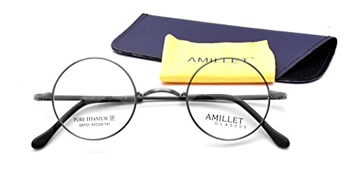 Amillet 42mm Retro Round Titanium Prescription Eyeglass Frames,for Men and Women,Rx-able,0.4 oz - Eyeglasses With Temples Cable