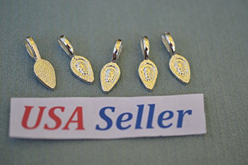 Sterling Silver Plated Bail Pendant - (25) Sterling Silver Plated Glue-on Pendant Bails, FINE Quality