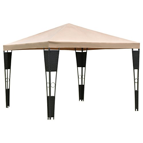 Outdoor Gazebo Canopy Tent Shelter Square Awning Garden Patio Rattan Wicker Brown Cover 10'x10' (Rattan Furniture Bugs)