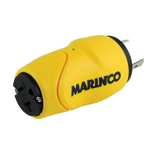 Marinco Straight Adapter, 30A M to 15A F