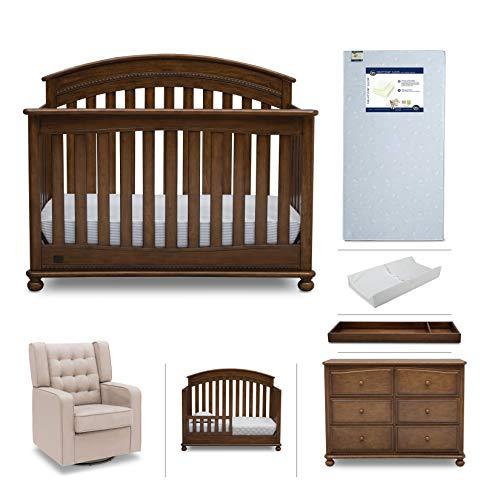 Baby Furniture Set – 7-Piece Simmons Kids Nursery, Aden | Convertible Crib, Dresser, Glider, Crib Mattress, Toddler Rail, Changing Top, Changing Pad, Antique Chestnut Brown/Ecru