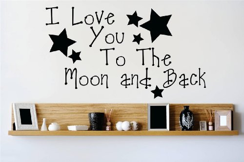 Decal - Vinyl Wall Sticker : I love you to the moon and back Quote Home Living Room Bedroom Decor DISCOUNTED SALE ITEM - 22 Colors Available Size: 10 Inches X 20 Inches
