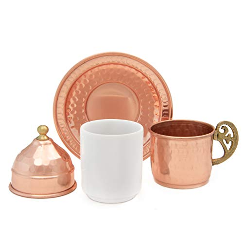 Handmade Copper Turkish Coffee Set of 6 Cups with Cezve, Saucers, Serving Bowl with Tray – Decorative Handcrafted Ottoman Style Demitasse 28pc Gift Pack Kit with Armenian Espresso Mugs, Arabic Dish by Mandalina Magic (Image #3)
