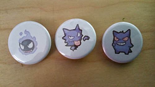 5x Pokemon Collectible 1'' inch Buttons - Ghastly Haunter Gengar Evolution Set - Custom Made - Pin Back - Gift Party Favor by Legacy Pin Collection