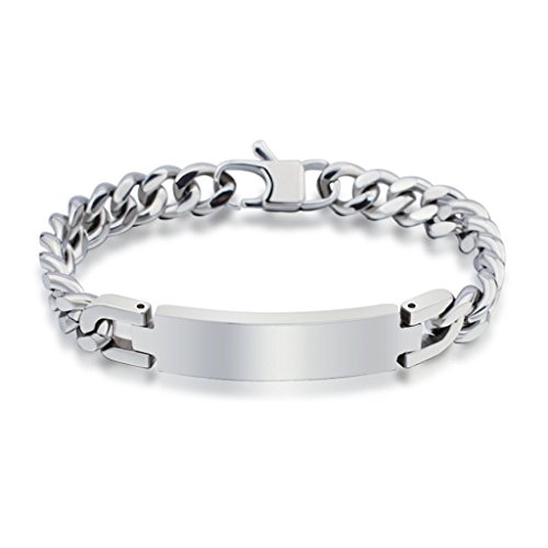 Stainless Steel Men's Fashion Curb Chain Bracelet Polished Finish 20 CM (Medusa Plus Size Costume)