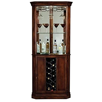 Amazon Com Bowery Hill Wine And Spirits Corner Home Bar Cabinet In