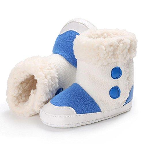 Hunpta Baby Jungen weiche alleinige Beuten Schnee Aufladungen Säuglings Kleinkind Neugeborene erwärmte Schuhe Blau