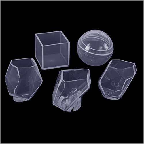 ANPHSIN 5 Pieces Resin Casting Molds, Clear Jewelry DIY Silicone Making Mould Tool for Crafting, Resin Epoxy, Jewelry Making, Including Multi-Faceted Diamond Mold, Square Mold, Sphere Mold