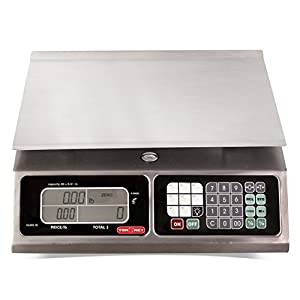 TORREY LPC40L Electronic Price Computing Scale, Rechargeable Battery, Stainless Steel Construction, 100 Memories, 8 Direct Access Keys , 40 lb