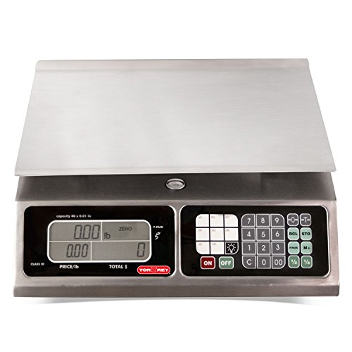 TORREY LPC40L Electronic Price Computing Scale, Rechargeable Battery, Stainless Steel Construction, 100 Memories, 8 Direct Access Keys , 40 lb by TORREY