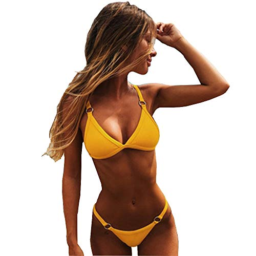 ZSIIBO Women Brazilian Bikini, Sexy Thong Triangle Bikini Set, Bandage Swimsutis for Women 2 Pieces (M-1, Yellow)