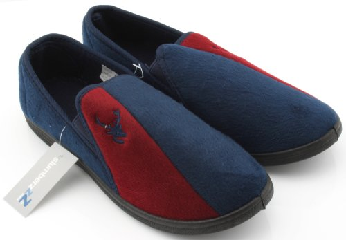 Mens Velour Slip-On Slippers with Elastic Gusset Navy Blue Red SuO57WIK