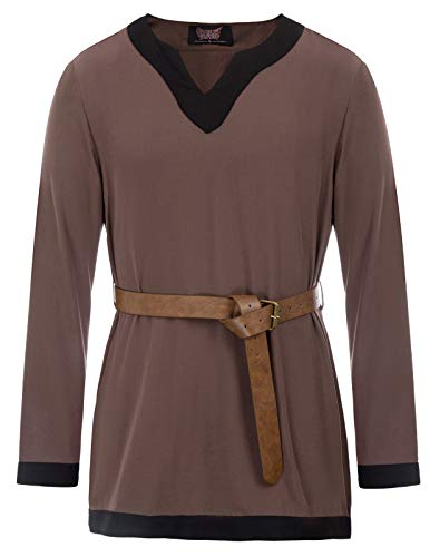 Men Medieval Viking Tunic Renaissance Long Sleeve Pirate Blouses Tops Coffee 2XL
