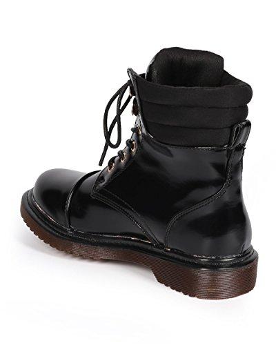 Dbdk Dk77 Kvinnor Polerad Läder Hårt Tå Räfflade Bekämpa Boot - Svart Konstläder
