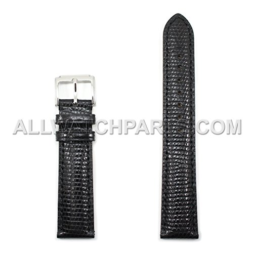 22mm Black Genuine Lizard Leather Watch (Black Glossy Leather Watch Band)