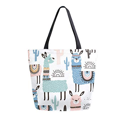 SUABO Llama Canvas Tote Bag Large Women Casual Shoulder Bag Handbag, Reusable Shopping Grocery Bag for Outdoors