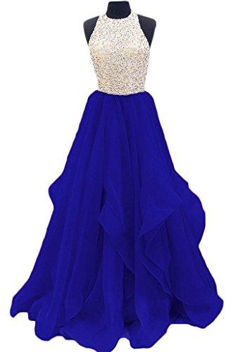 Tbgirl Robes De Bal Magnifiques Perles Robe De Mousseline De Trou De Serrure Doux 16 Partie Bleu