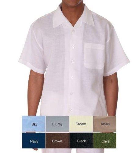Milano Moda 100% Linen Walking Set (Shirt Sleeve Shirt and Long Pant) 2803L-Khaki-Medium-32