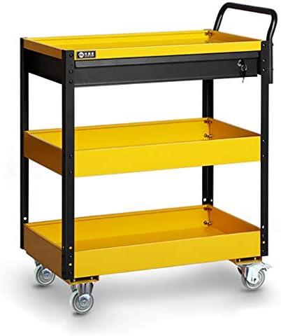 ツールトロリー3層サービスカート取り付け棚重量物ガレージワークショップツールキャビネットDIYツール収納ホイールカート