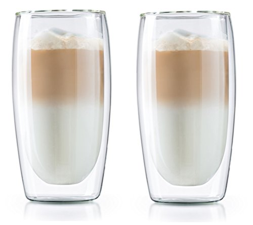 12 oz Double Wall Thermo Insulated Latte & Coffee Glasses - Set of 2 Borosilicate Latte & Coffee Cups by Boral Germany - Medelco 12 Cup Glass