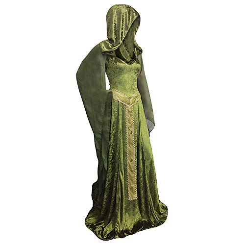 Sinastar Medieval Vintage Velvet Lace Up Back Trumpet Sleeves Hooded Gothic Dress Gown